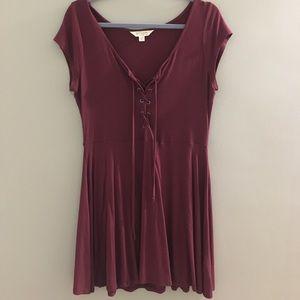 burgandy cotton dress